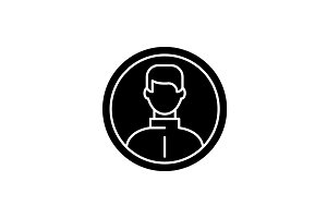 Business user black icon, vector