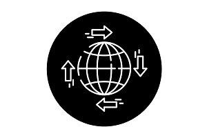 Global distribution black icon