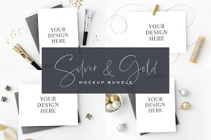 Silver and Gold Card Mockup Bundle