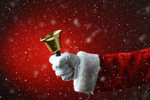 Santa Claus Ringing Bell Snowy Red