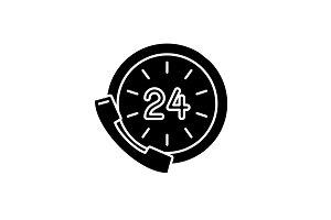 24 hour communication black icon