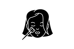 Woman makeup black icon, vector sign