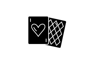 Card games black icon, vector sign