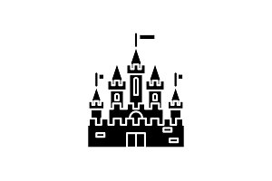Princess castle black icon, vector