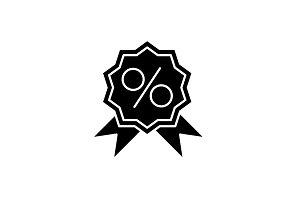 Store discounts black icon, vector