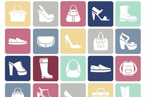 Shoes and bags icons