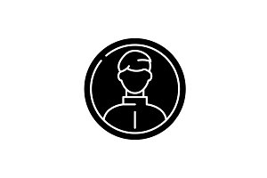Business profile black icon, vector