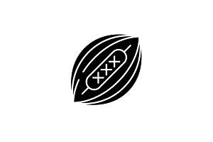 American football black icon, vector