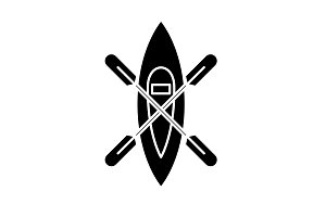 Kayaking boat black icon, vector