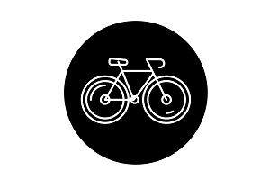 Bicycle black icon, vector sign on