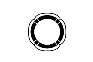 Lifebuoy black icon, vector sign on