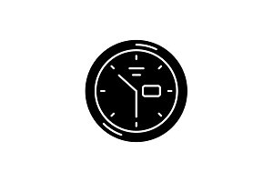 Wall clock black icon, vector sign