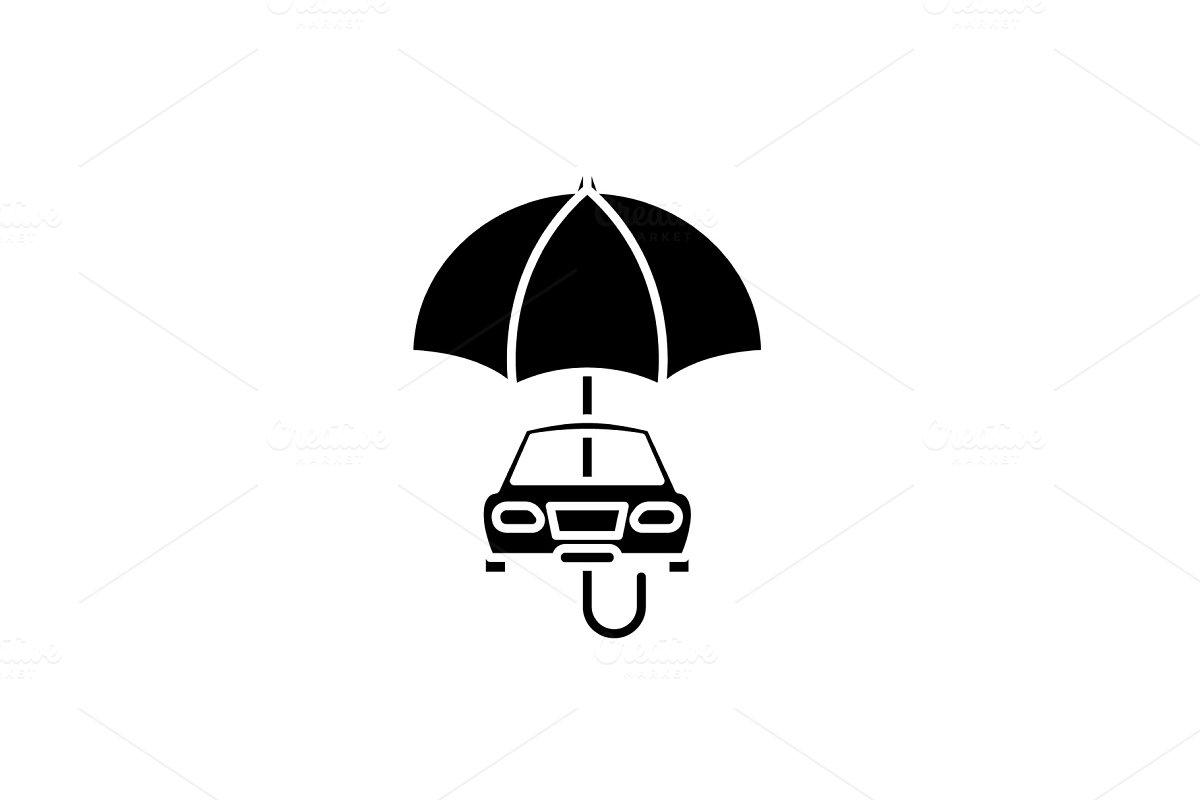 Car Insurance Black Icon Vector Illustrations Creative Market