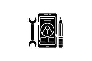 Mobile development black icon