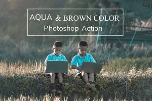 Aqua and Brown Color - PS Action