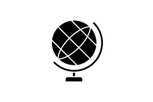 Globe black icon, vector sign on