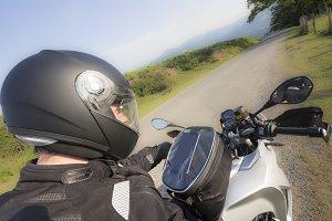 Motobiker travelling