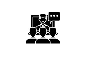 Online lecture black icon, vector