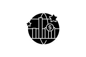 World economic growth black icon