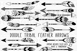 Doodle Tribal Feather Arrows Clipart