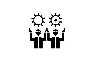 Development team black icon, vector