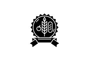 Bio product black icon, vector sign