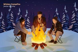 Winter Campfire- Vector Illustration