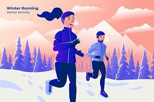 Winter Running - Vector Illustration