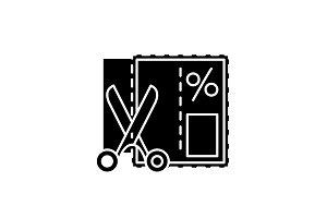Shopping coupon black icon, vector