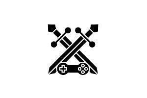 Adventure game black icon, vector