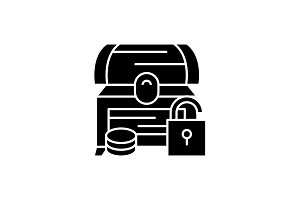 Treasure chest black icon, vector