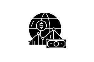 World markets black icon, vector