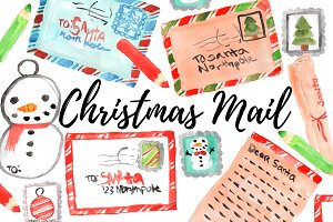 Watercolor Christmas Mail Clipart