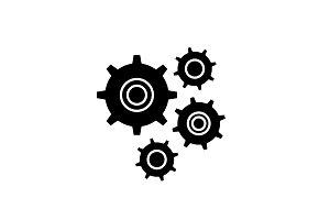 Gear wheel black icon, vector sign