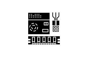 Computer software black icon, vector