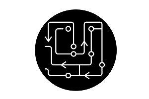 Computer algorithms black icon