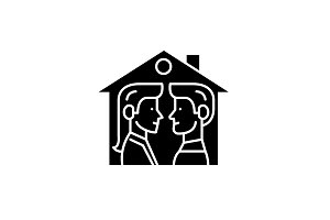 House for two black icon, vector
