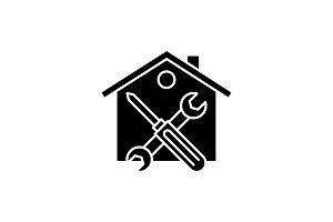 Repairs black icon, vector sign on
