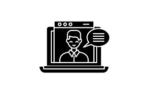 Online video course black icon