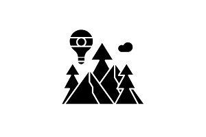 Adventure black icon, vector sign on