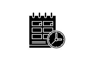 Schedule black icon, vector sign on