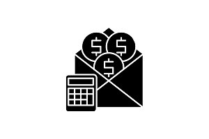 Salary black icon, vector sign on