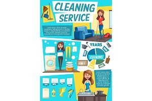 Cleaning service, woman, home chores