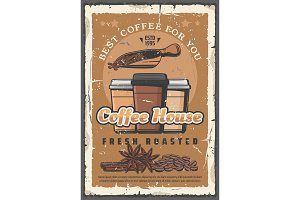 Coffee house, takeaway paper cups