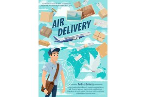 Air mail delivery, mailman, airplane