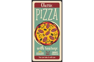 Pizza with sausage, retro poster