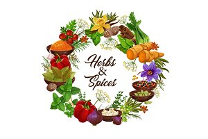 Herbs, spice, seasonings, condiments