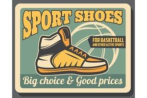 Sport shoe shop, sportive sneaker