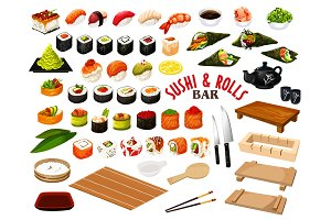 Japanese cuisine, sushi and rolls