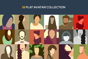 18 flat avatar collection